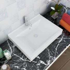 Lavabo Cerámico Forma Rectangular Blanco Agujero de Grifo 60x46cm