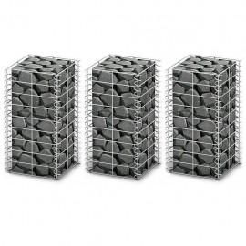 Cestas de muro de gaviones alambre galvanizado 25x25x50cm 3 uds