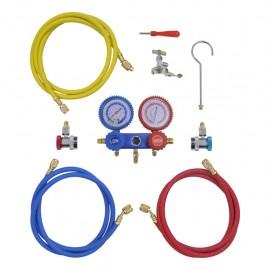 Kit manómetros y mangueras a 2 vías para el aire acondicionado