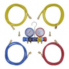 Kit manómetros y mangueras a 4 vías para el aire acondicionado