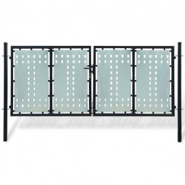 Verja negra con dos puertas de entrada, 300 x 175 cm