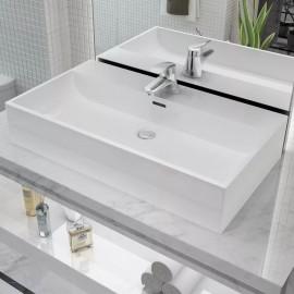 Lavabo con orificio para grifo cerámica 76x42,5x14,5 cm blanco