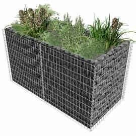 Jardinera de acero de gaviones 180x90x100 cm plateado