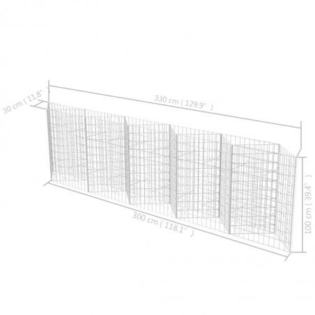 Cesta/jardinera/arriate de gaviones de acero 300x30x100 cm