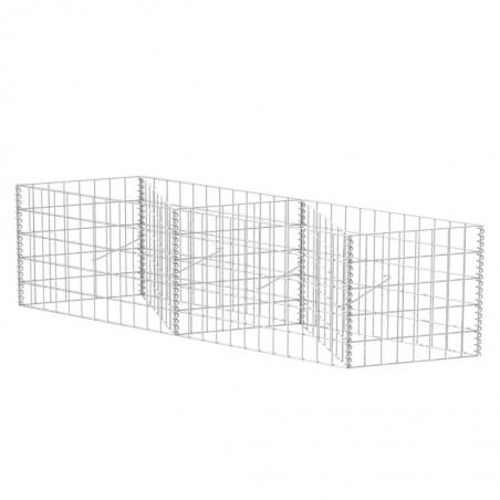 Cesta/jardinera/arriate de gaviones de acero 120x30x50 cm