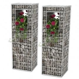 Cesta poste/jardinera de gaviones 2 unidades acero 50x50x160 cm