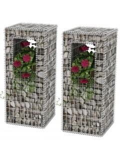 Cesta poste/jardinera de gaviones 2 unidades acero 50x50x120 cm
