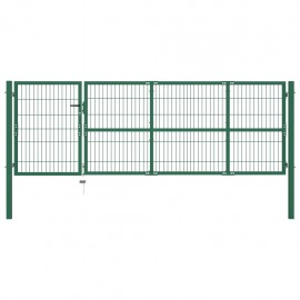 Puerta de valla de jardín con postes 350x100 cm acero verde