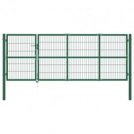 Puerta de valla de jardín con postes 350x120 cm acero verde