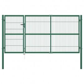 Puerta de valla de jardín con postes 350x140 cm acero verde