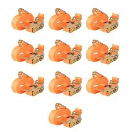 Correas de sujeción de trinquete 10 uds 0,4 T 6mx25mm naranja