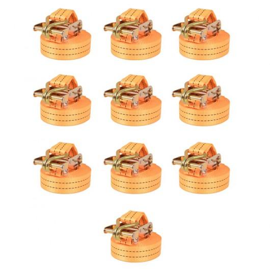Correas de sujeción de trinquete 10 uds 1T 6mx38mm naranja