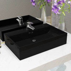 Lavabo con orificio para grifo cerámica 76x42,5x14,5 cm negro