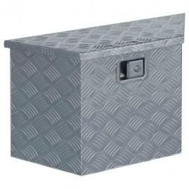 Caja de aluminio 70x24x42 cm forma trapezoide plateada