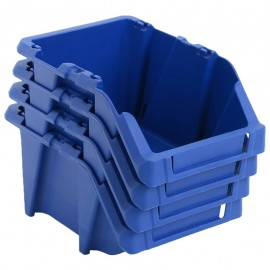 Contenedores almacenaje apilables 103x165x76 mm azul 250 uds