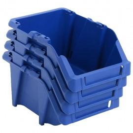 Contenedores almacenaje apilables 200x300x130 mm azul 50 uds