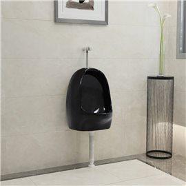 Urinario de pared con válvula de descarga cerámica negro