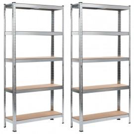 Estanterías 2 unidades plateado 90x30x180 cm acero y MDF