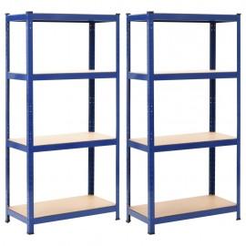 Estanterías 2 unidades azul 80x40x160 cm acero y MDF