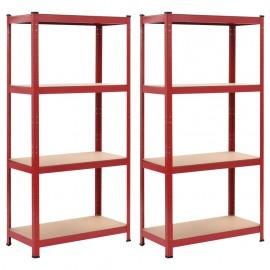 Estanterías 2 unidades rojo 80x40x160 cm acero y MDF