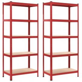 Estanterías 2 unidades rojo 80x40x180 cm acero y MDF