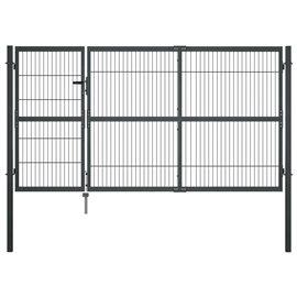 Puerta de valla de jardín con postes acero antracita 350x140 cm