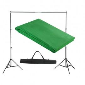 Sistema de soporte de telón fondo 300x300 cm verde