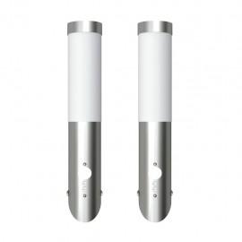 2 Apliques de exterior con detector de movimiento, acero inoxidable