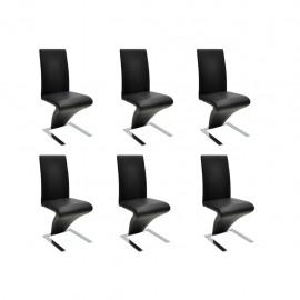 Sillas de comedor 6 unidades cuero artificial negro
