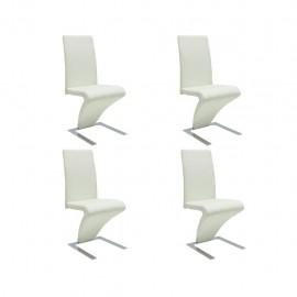 Sillas de comedor 4 unidades de cuero artificial blanco