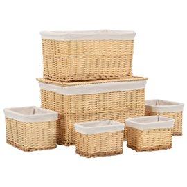 Conjunto de cestas apilables 6 unidades de sauce natural