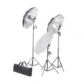 Kit de iluminación de estudio trípodes y sombrillas 24 vatios