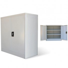 Armario de oficina 2 puertas 90 cm acero gris