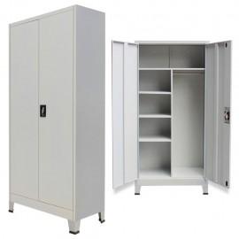 Armario de almacenaje con 2 puertas de acero 90x40x180 cm gris