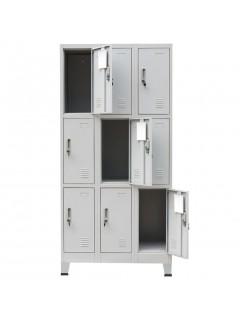 Armario taquilla con 9 compartimentos acero 90x45x180 cm gris