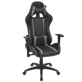 Silla de escritorio Racing reclinable de cuero artificial gris
