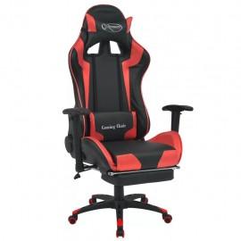 Silla de escritorio reclinable Racing con reposapiés roja