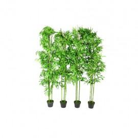 Planta artificial en maceta, bambú, 4 unidades, 190 cm