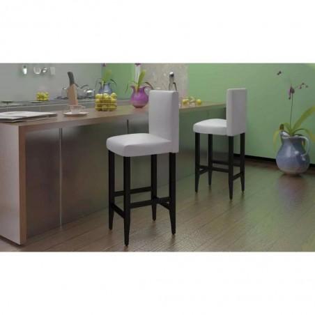 Taburete de cocina 2 unidades cuero artificial blanco