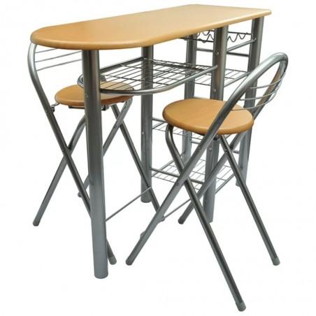 Mesa alta de cocina con taburetes madera