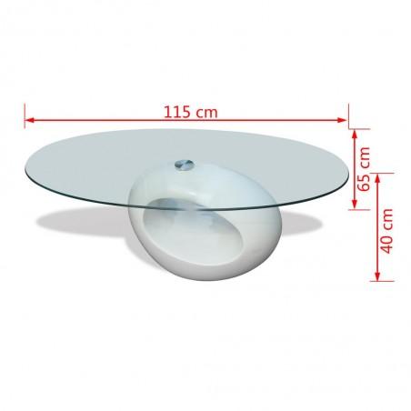 Mesa de centro superficie ovalada de vidrio blanco brillante