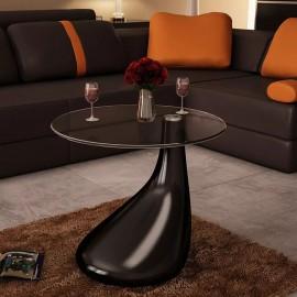Mesa de centro con superficie redonda vidrio negro brillante