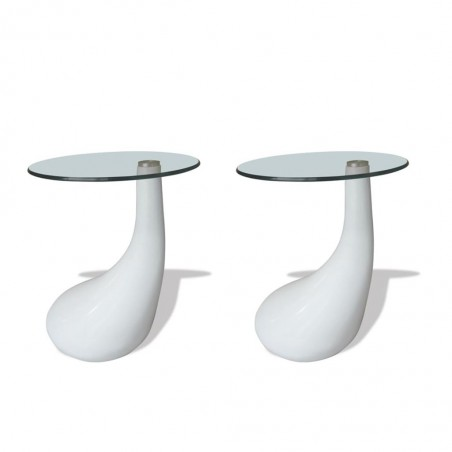 Mesa de centro superficie redonda vidrio blanco brillante 2 uds