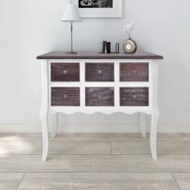 Cómoda con 6 cajones de madera marrón y blanca