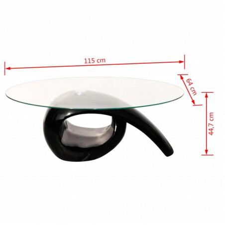Mesa de centro superficie ovalada de vidrio negro brillante