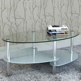 Mesa de centro de vidrio con diseño exclusivo blanca