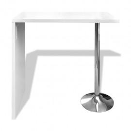 Mesa alta de cocina de MDF y 1 pata de acero blanco con brillo