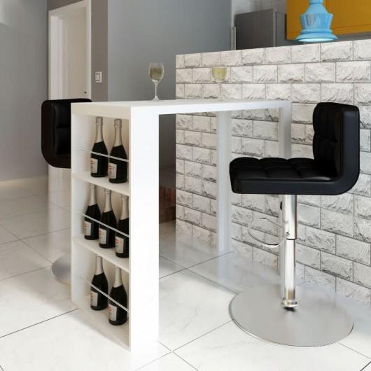 Mesa alta de cocina con estantes para botellas blanca brillante