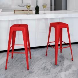 Taburetes de bar cuadrados 2 unidades rojos