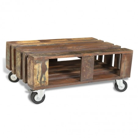 Mesa de centro con 4 ruedas de madera reciclada